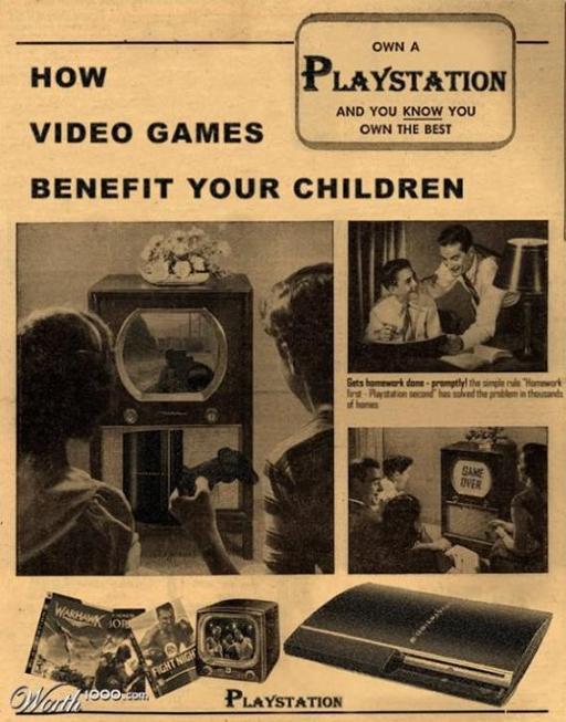 affiche_fausse_pub-des-années _60_playstation-vidéo-Games_mesfavorisites.com