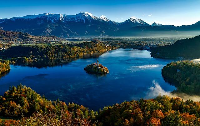 Slovénie, Automne, Automne, Coloré, Montagnes, Neige-