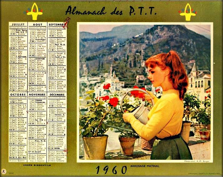 calendrier PTT 1960 _Jeune - femme-