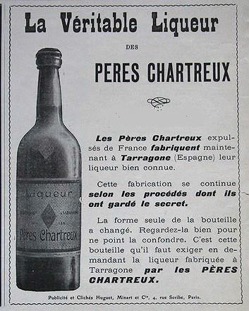 étiquette -boueilles -ancienne -chartreuse-pères-chartreux