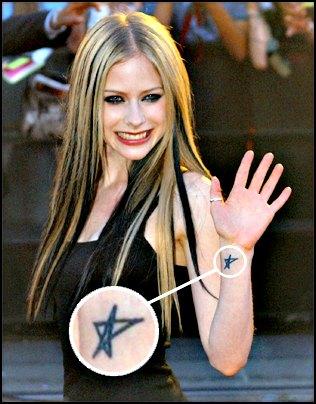 Ashley -Simpson-tatouage-étoile-poignet