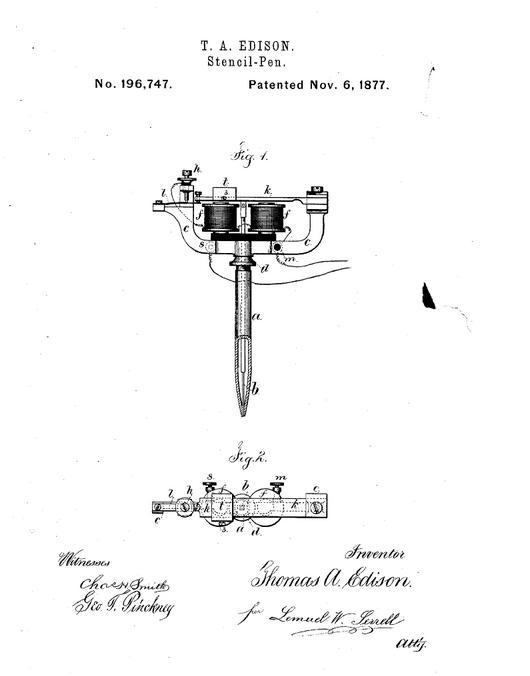 inventeur-machine-à - tatouer_brevet- thomas- a. Edison