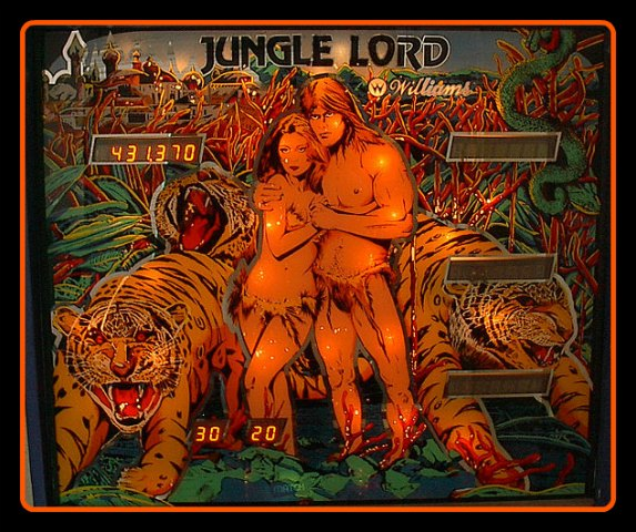 JungleLord_Backglass-Exemple de fronton -d`un -flipper -électronique- 4 joueurs- des- années- 1980