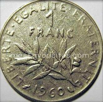Pièce- de -un -franc- 1960