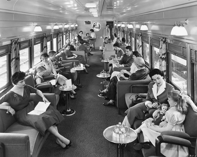 Lounge- Car -aboard- a -Union -Pacific Streamliner- in the 1950s.