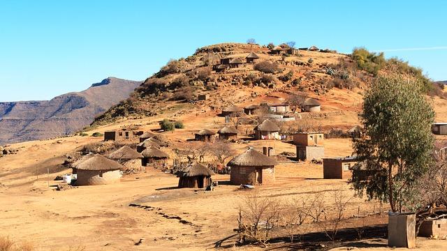 montagnes , cabines , village , afrique , lesotho ,