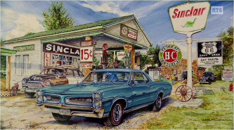 peinture-artiste_station-service-voiture-route 66