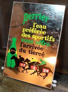 plaque-publicitaire_plastique-perrier-tierce-arrivee-resultat-course-hippique-sport-vintage-ancien-bar-pmu-1970-cointurf