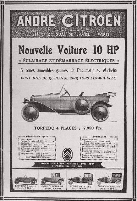 Publicité_Citroën_de_1919,_pour_la_10HP_type_A_de_série