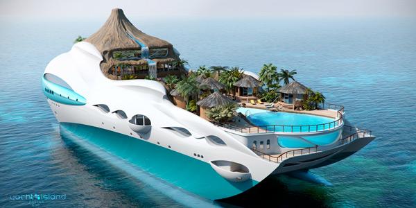 un yacht en forme d île tropicale flottante