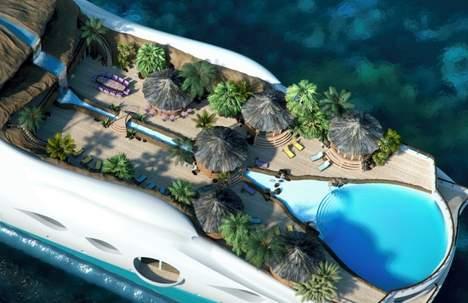 un yacht en forme d île tropicale flottante (3