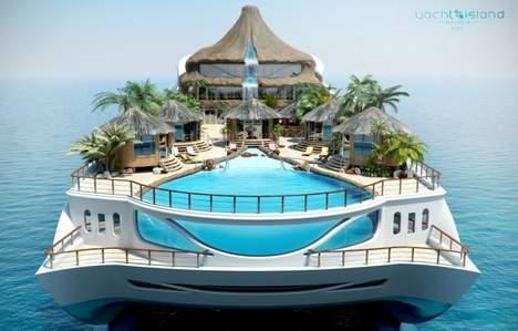 un yacht en forme d île tropicale flottante (4)